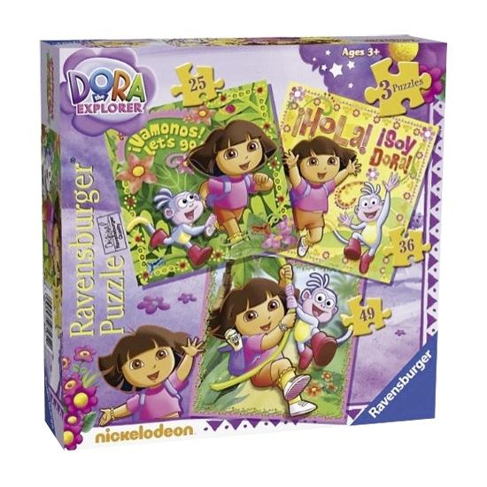 3 Dora puzzels in 1 verpakking