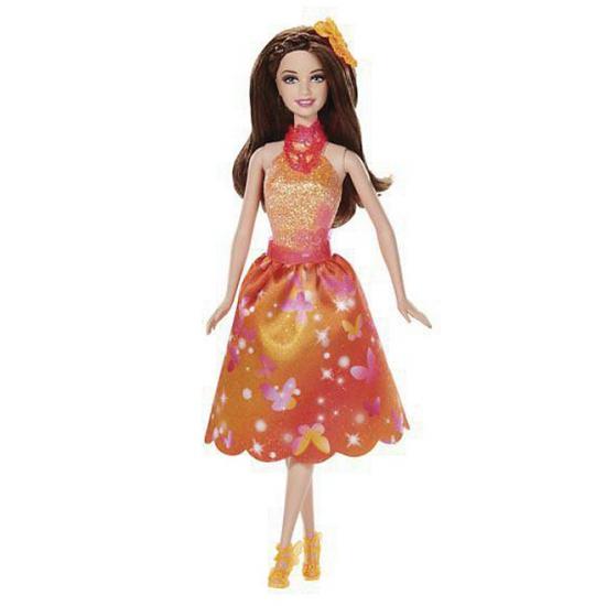Barbie in oranje feestjurkje