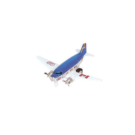 Blauw vliegtuig met terugtrekmotor
