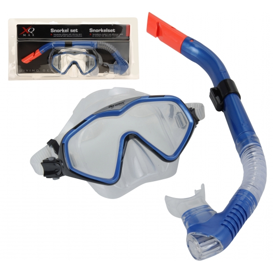 Blauwe duikbril met snorkel