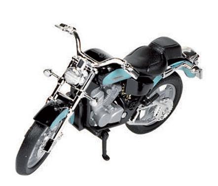Blauwe Honda shadow speelgoed motor 11 cm