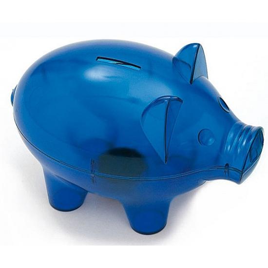 Blauwe jumbo spaarvarkens