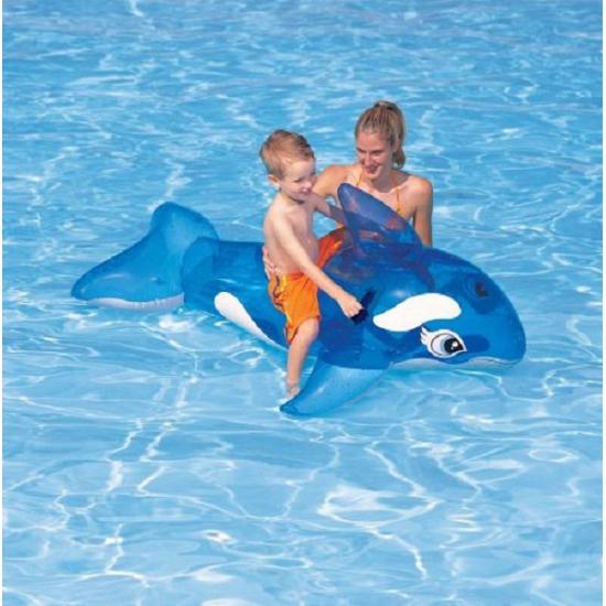 Blauwe opblaas orka voor kinderen 163 x 76 cm