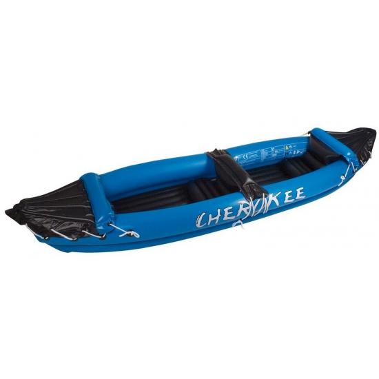 Blauwe opblaasbare kano