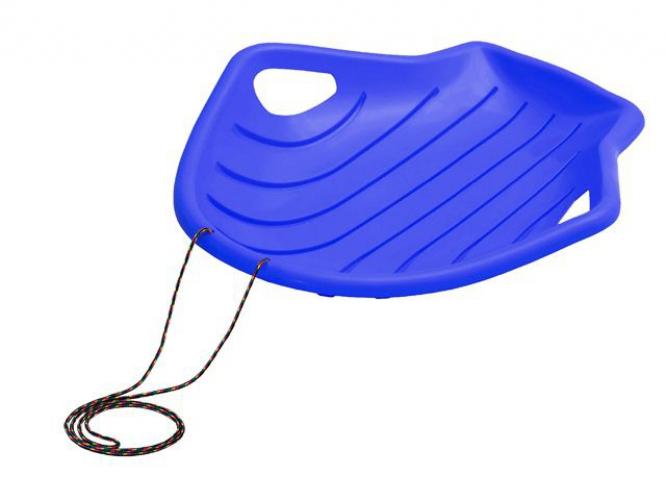 Blauwe schelp slee met koord 78 cm