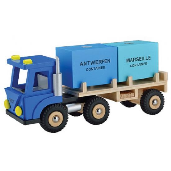 Blauwe speelgoed vrachtwagen