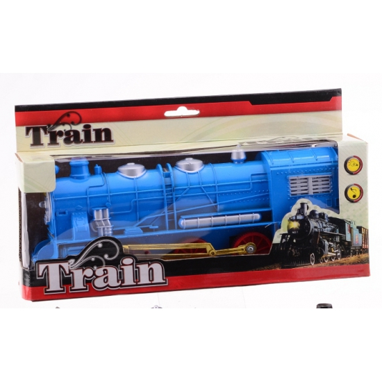Blauwe trein met licht en geluid