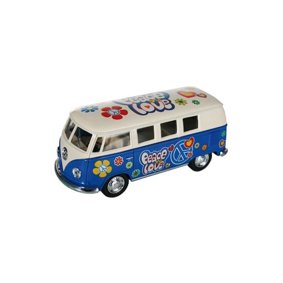 Blauwe VW model bus 12,5 cm