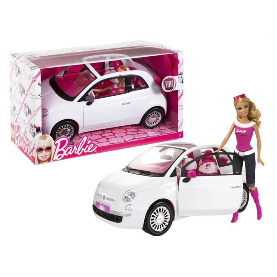 Blonde Barbie met Fiat cabriolet