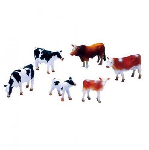 Boerderijdieren 6 plastic koeien