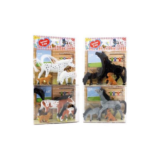 Bruin wit paarden speelsetje met veulen en hond