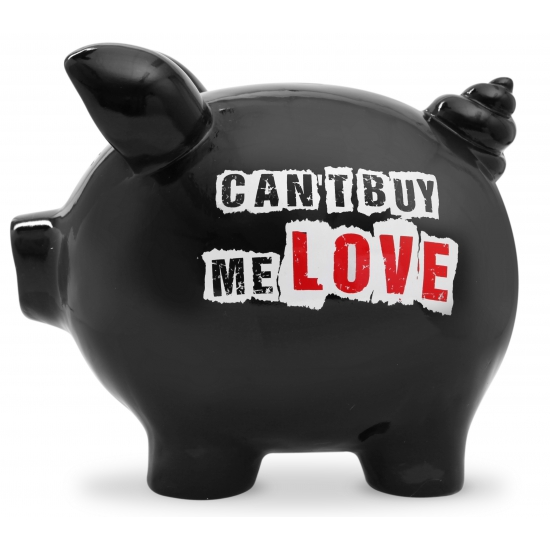 Design spaarvarken Can t buy me Love 20 cm