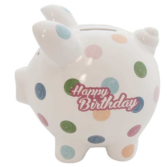 Design spaarvarken Happy Birthday 20 cm
