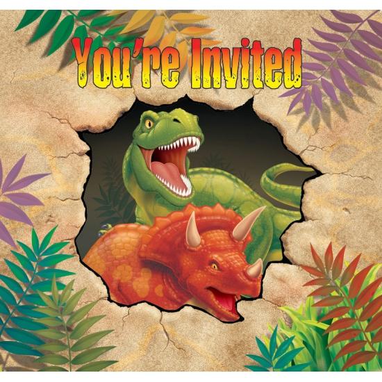 Dinosaurus themafeest uitnodigingen 8 stuks