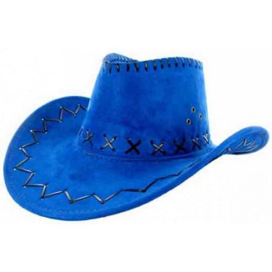 Feesthoeden lederlook cowboyhoed blauw