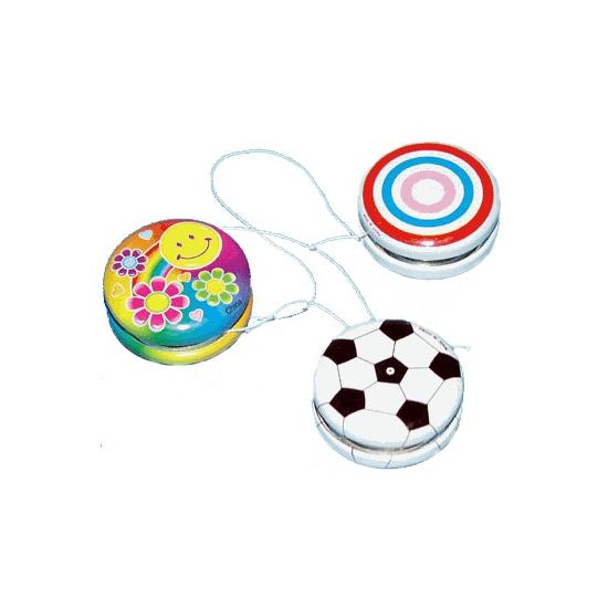 Gekleurde speelgoed jojo met smiley 3,5 cm