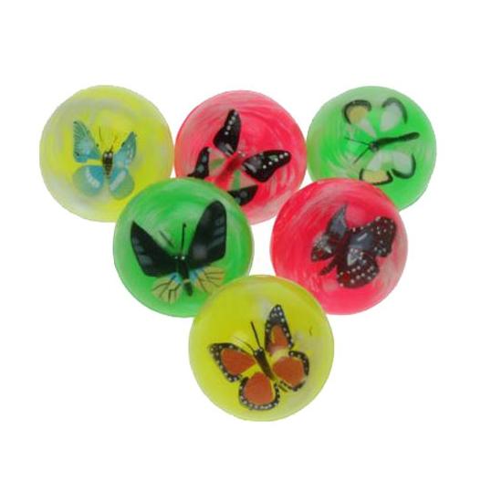 Gekleurde stuiterbal met vlinder erin