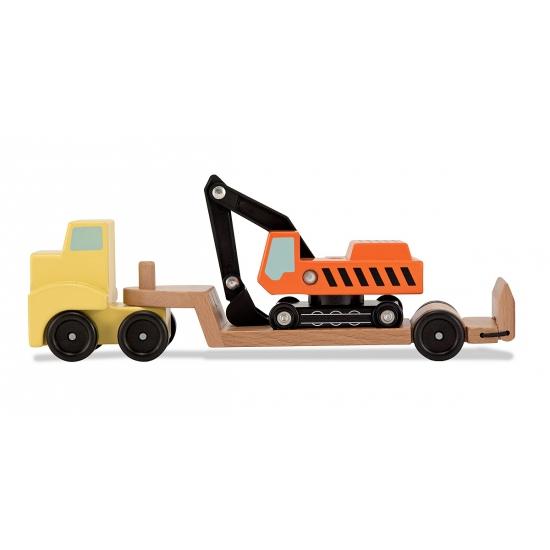 Gele truck met graafmachine van hout