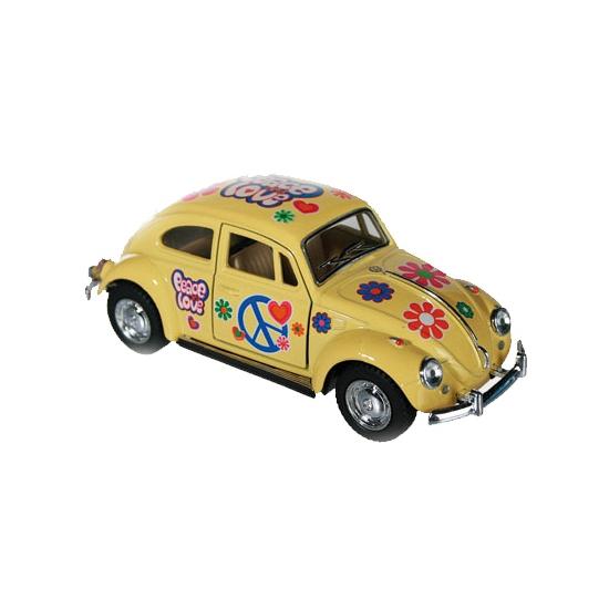 Gele VW kever modelauto 12,5 cm