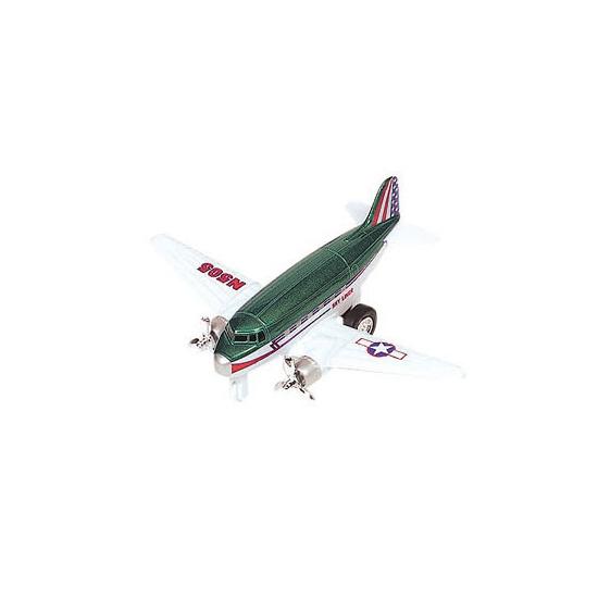 Groen vliegtuig met terugtrekmotor