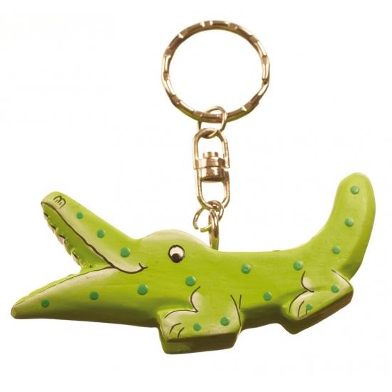 Groene krokodillen sleutelhanger
