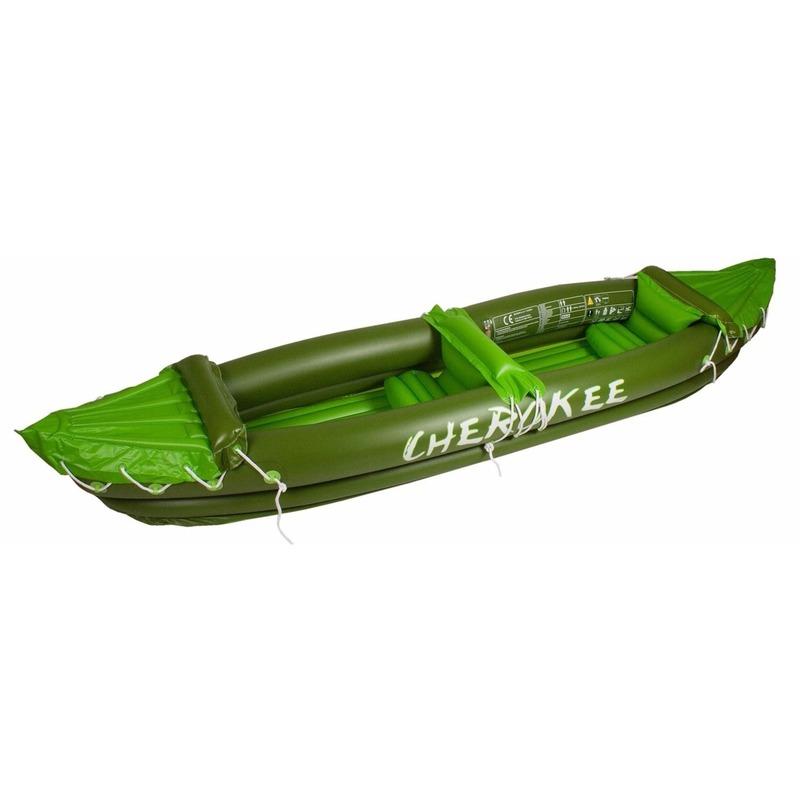 Groene opblaasbare kano