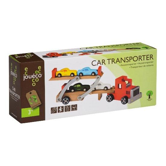 Houten autotransporter voor kinderen