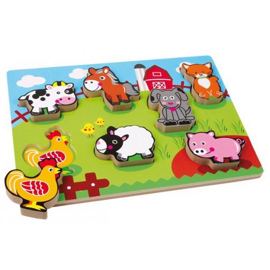 Houten boerderijdieren puzzel