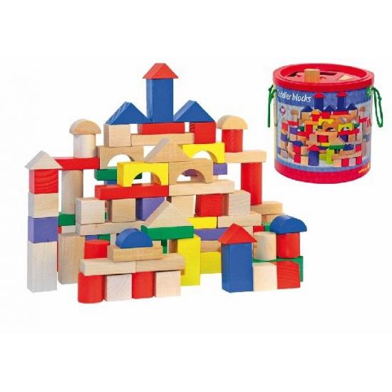Houten bouwblokken in ton 100 stuks