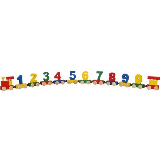 Houten cijfertrein met magneten