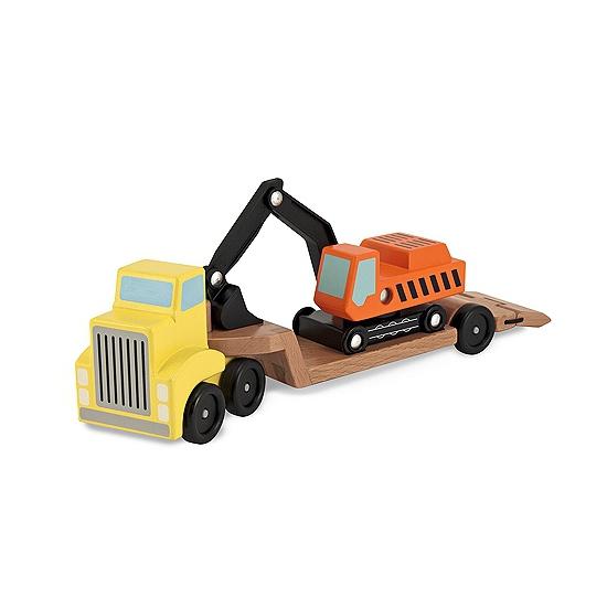 Houten dieplader truck met graafmachine