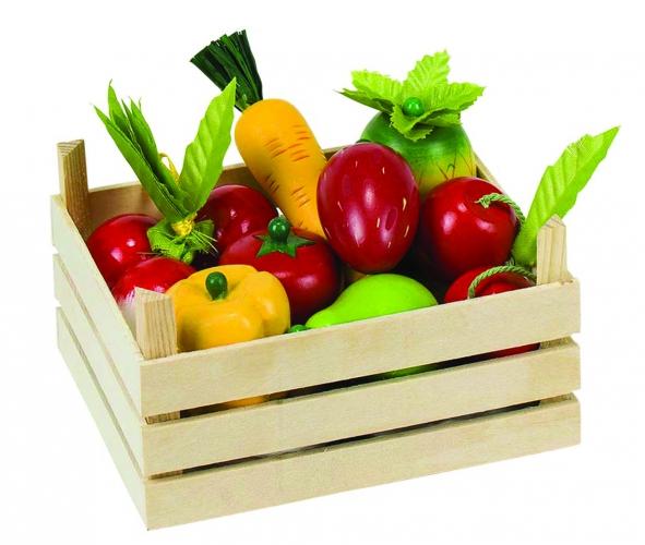 Houten kist met groente en fruit