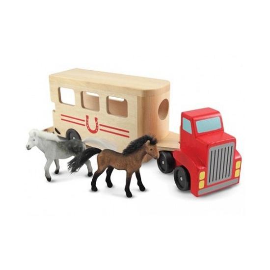 Houten paardentruck met paarden