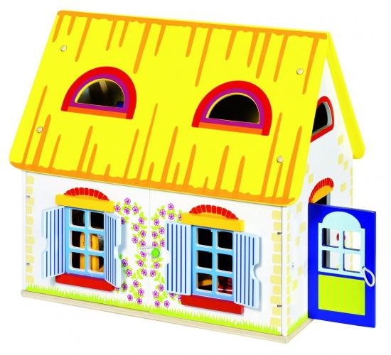 Houten poppenhuis met meubels
