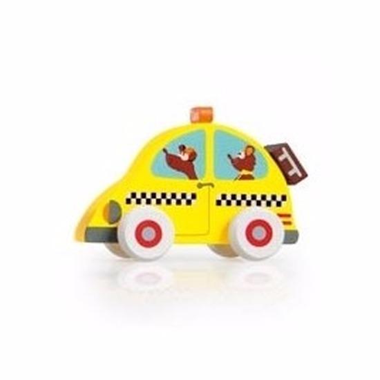 Houten speelgoed gele taxi 10 cm