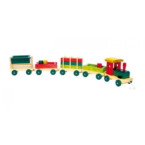 Houten speelgoed trein gekleurd