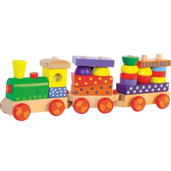 Houten speelgoed trein met geluid
