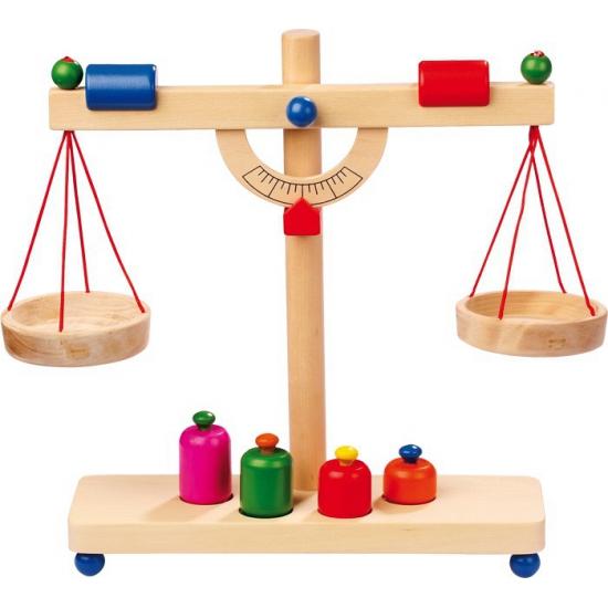 Houten speelgoed weegschaal
