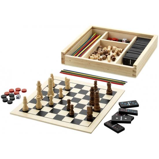 Houten spel set met 5 spelletjes