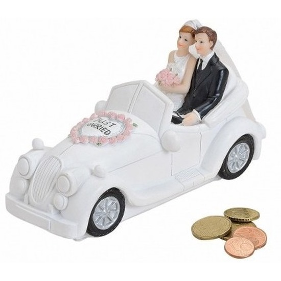 Just married geld spaarpot wit 16 cm