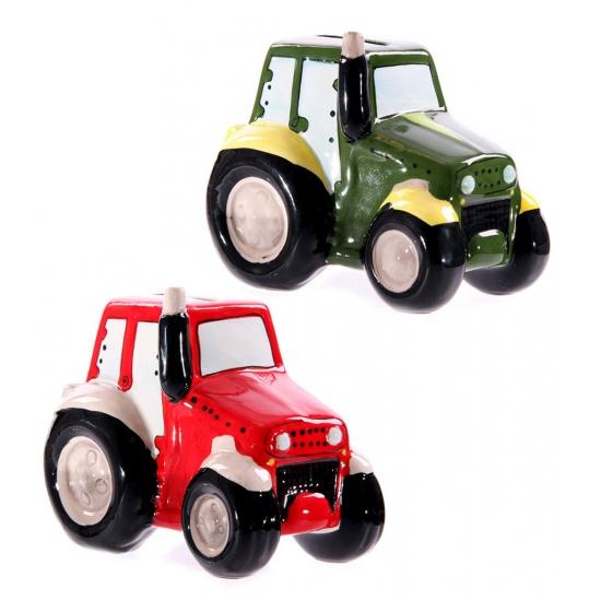 Keramiek tractor spaarpotje 12 cm