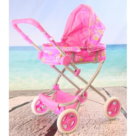 Kinder poppenwagen roze met aardbeien