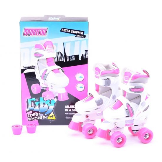 Kinder rolschaatsen roze verstelbaar