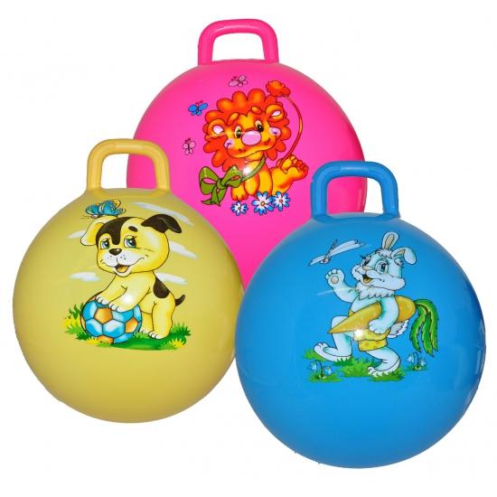 Kinder skippyballen blauw met konijn