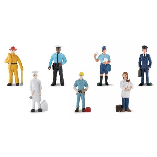 Kinder speel poppetjes in werkkleding