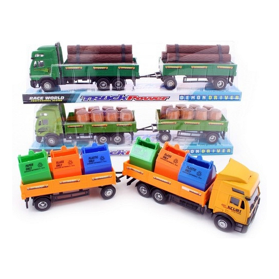 Kinder vrachtauto geladen met afvalcontainers