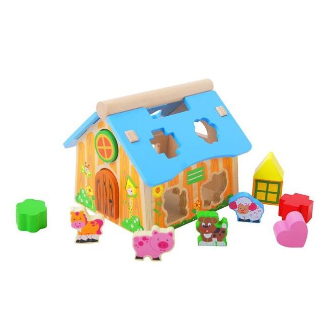 Kinderspeelgoed houten boerderij blokkendoos