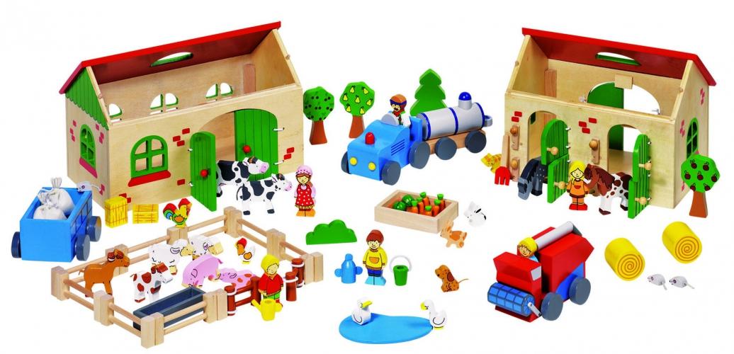 Kinderspeelgoed houten boerderij