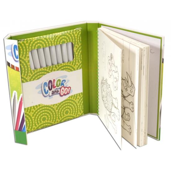 Kleurboek met stiften van dieren