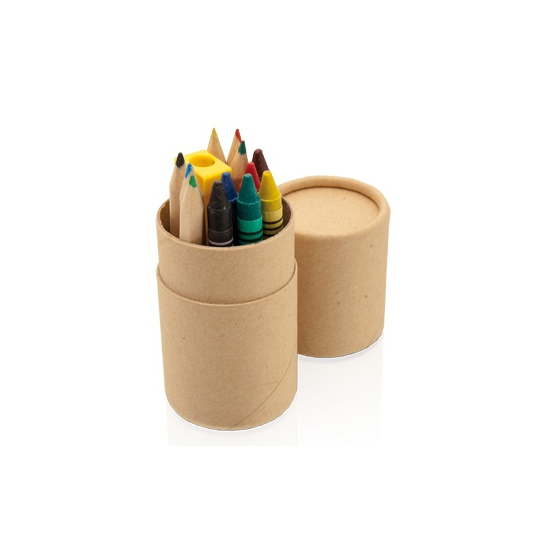 Kokertje met waskrijtjes en potloden